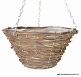 "Wicker 14"" Rattan Hanging Basket"